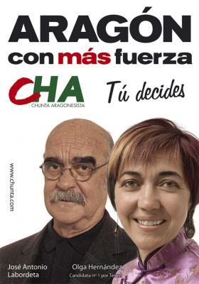 cartel electoral de la Chunta Aragonesista con Labordeta